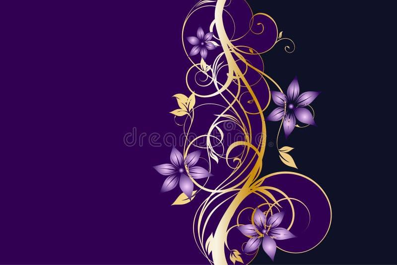 Västra guld- och purpurfärgad blom- bakgrundsmall stock illustrationer