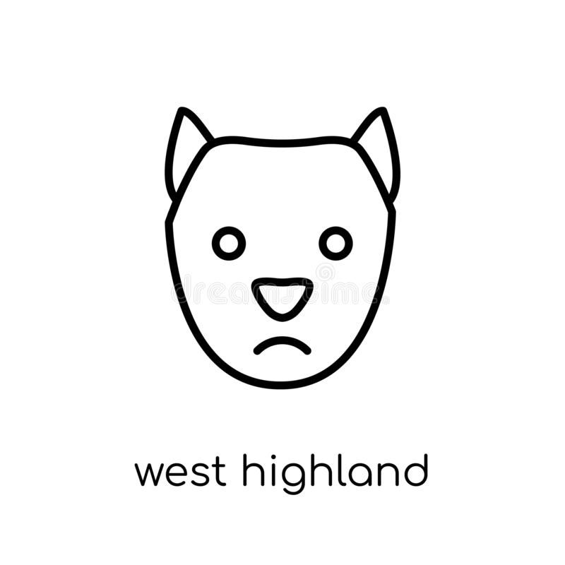Västra höglands- vita Terrier hundsymbol Linjär moderiktig modern lägenhet vektor illustrationer
