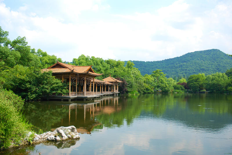 västra hangzhou lakelandskap royaltyfri fotografi