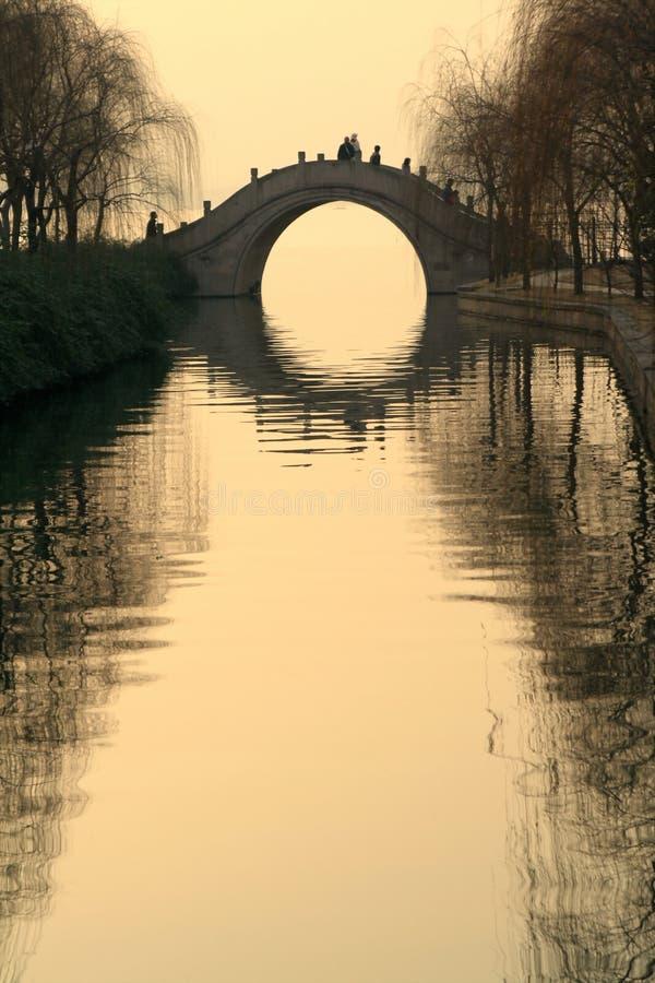 västra hangzhou lakesolnedgång royaltyfri bild