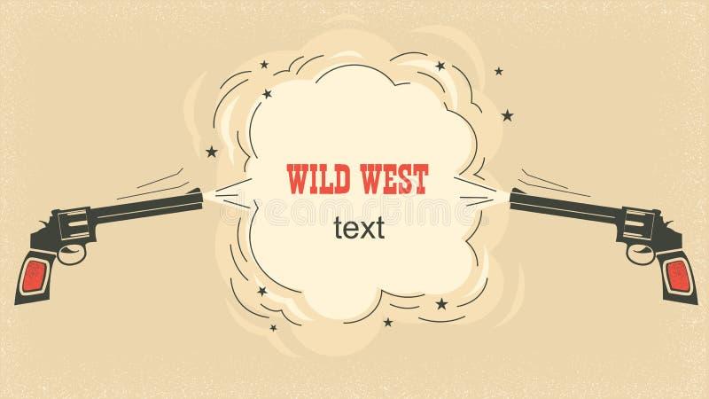 Västra illustration med cowboyvapen och brustet utrymme för text vektor illustrationer