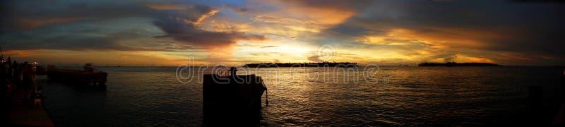 västra key panorama- solnedgång royaltyfri bild