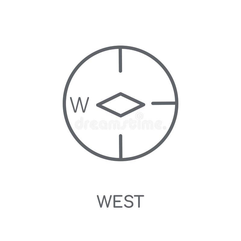 Västra linjär symbol Västra logobegrepp för modern översikt på vit baksida vektor illustrationer