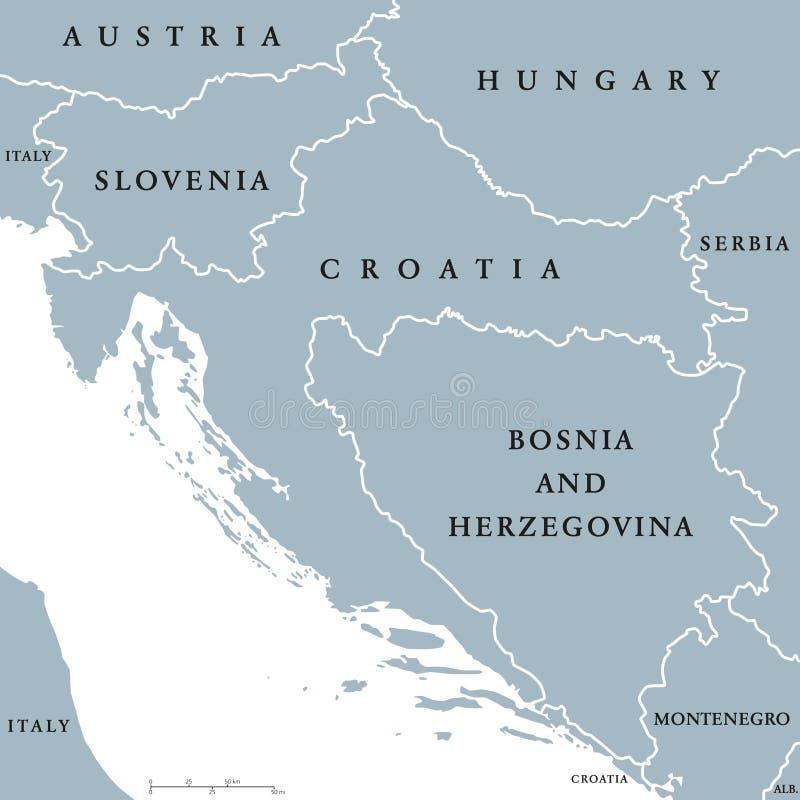 Västra politisk översikt för Balkan länder stock illustrationer