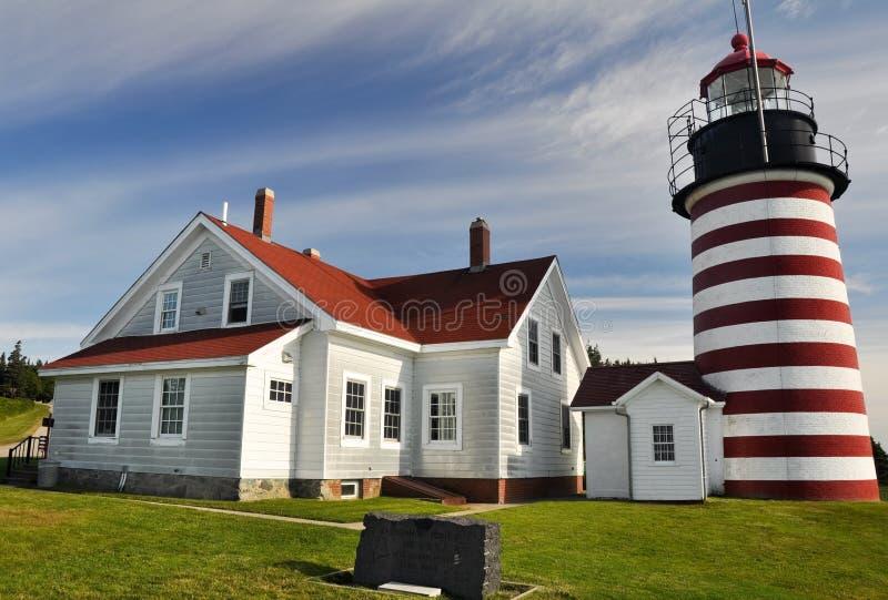 Västra Quoddy huvudfyr, Maine. USA arkivbild