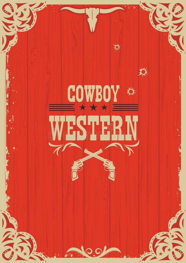 Västra röd bakgrund för cowboy med vapen vektor illustrationer
