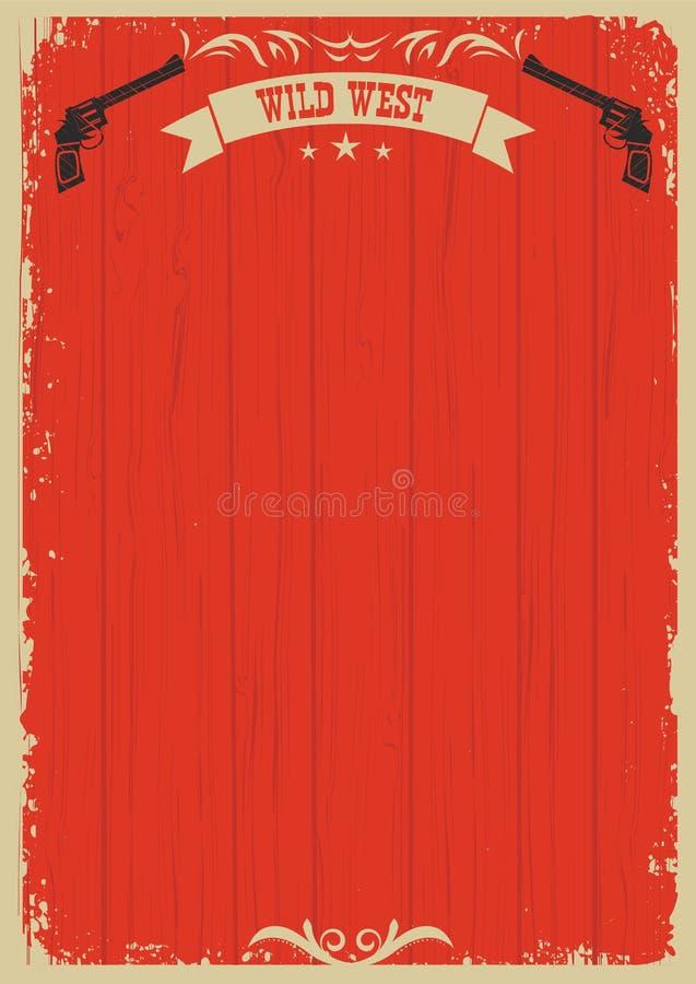 Västra röd bakgrund för cowboy med vapen för text vektor illustrationer