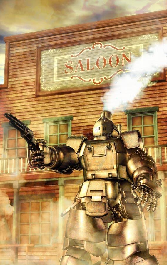 västra robotsteampunk royaltyfri illustrationer