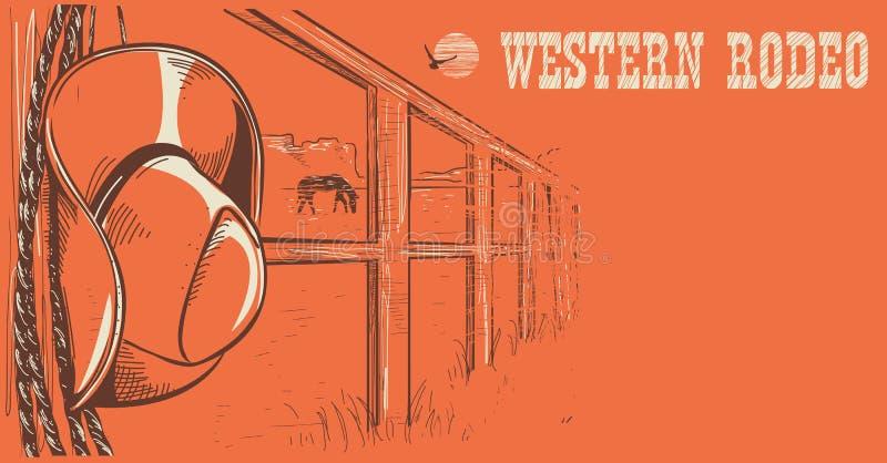 Västra rodeoaffisch Amerikansk västra cowboyhatt och lasso på trä stock illustrationer