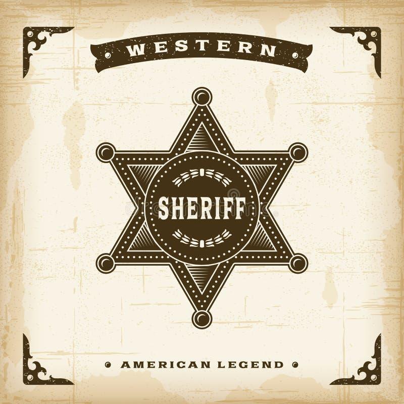 Västra sheriff Badge för tappning royaltyfri illustrationer
