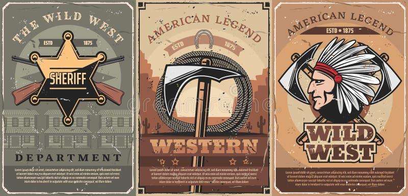 Västra sheriffstjärnan, vapen och tomahawk stock illustrationer