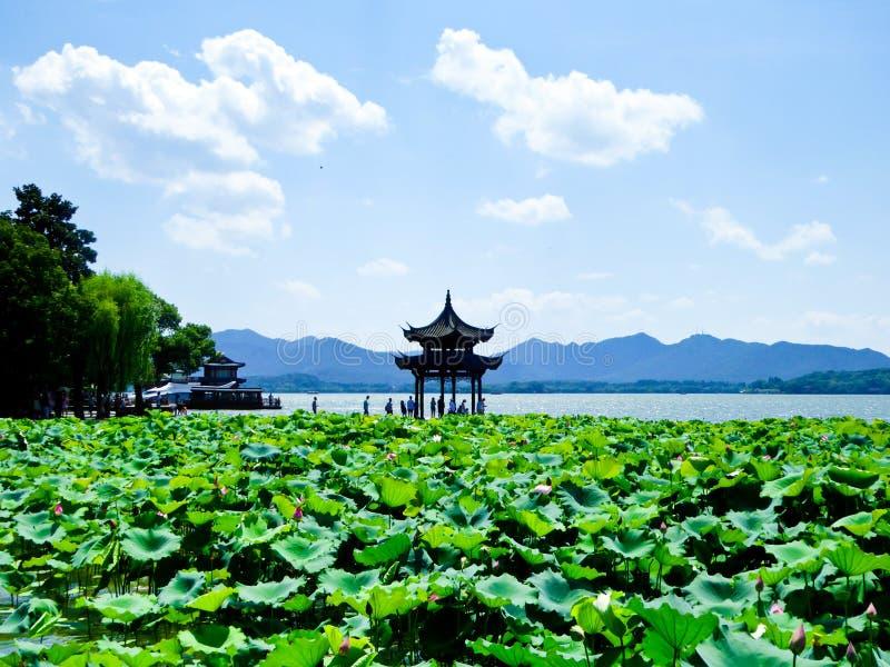 Västra sjö av den Hangzhou paviljongen royaltyfri bild
