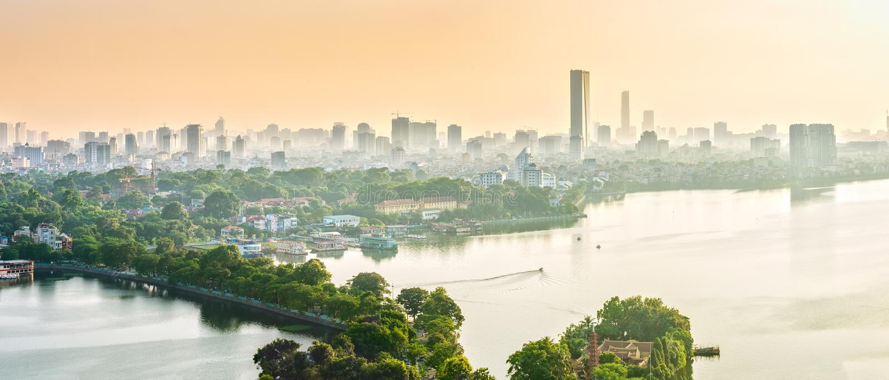 Västra sjö för dimensionell panorama, Hanoi, Vietnam royaltyfri foto
