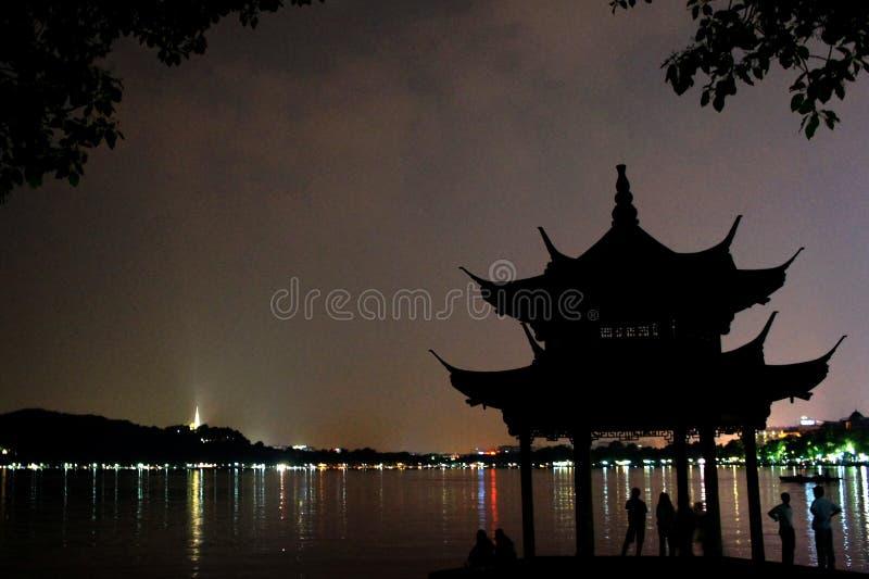 Västra sjö på natten fotografering för bildbyråer