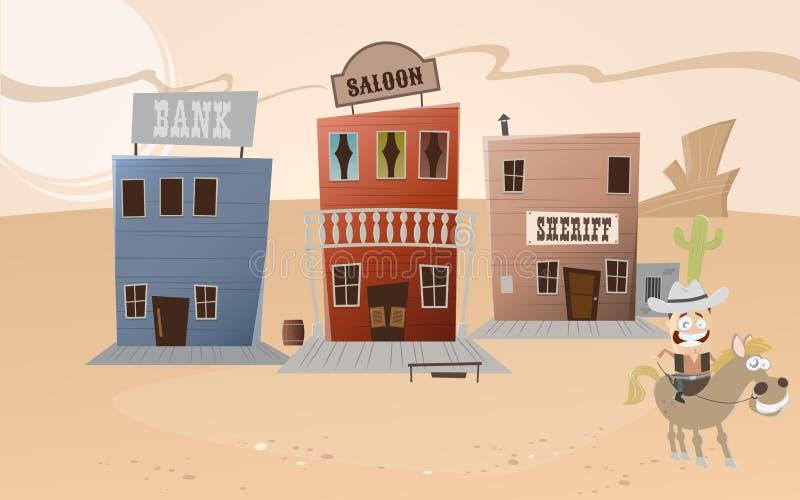 Västra stad för rolig tecknad film stock illustrationer