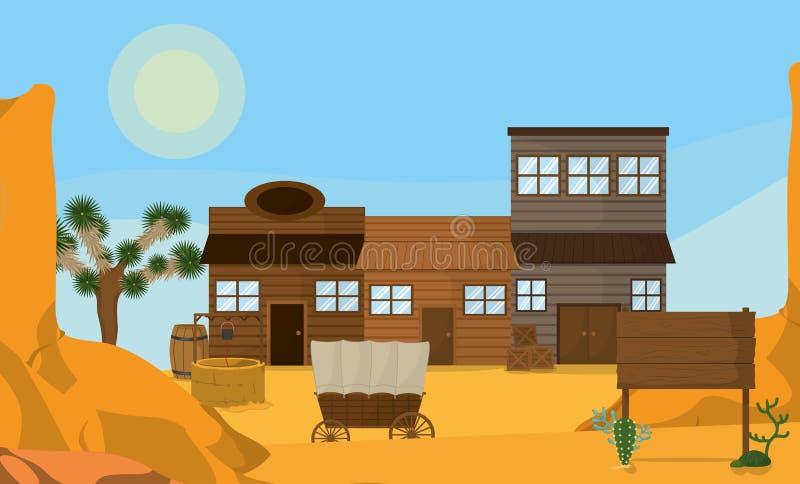 Västra stad med trähus stock illustrationer