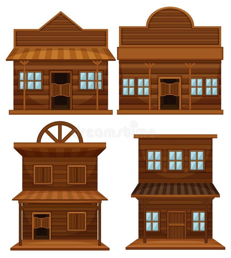Västra stil av byggnader royaltyfri illustrationer