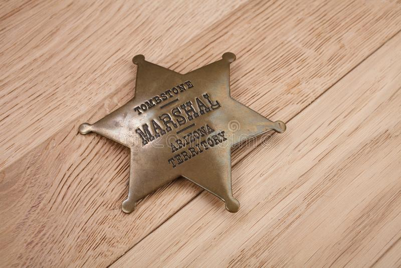Västra-stil sheriffemblem royaltyfri foto
