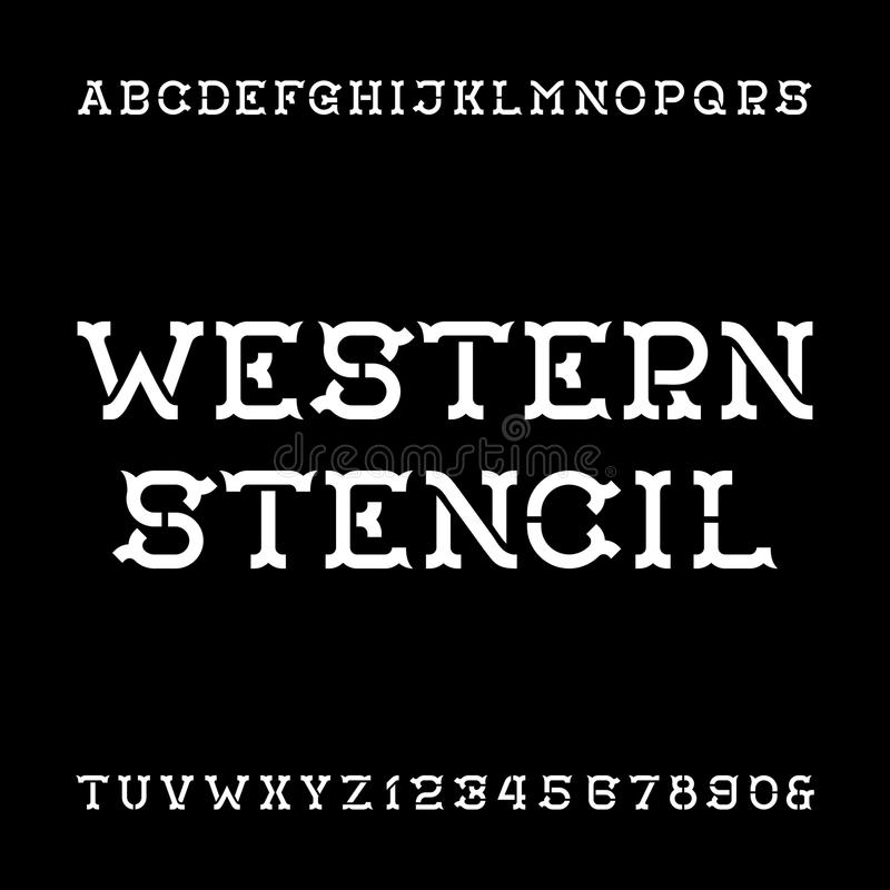 Västra stilsort för stencilalfabetvektor Tappningtyp märker och nummer stock illustrationer