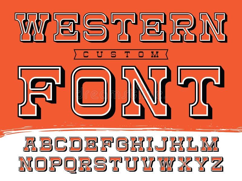 Västra stilsort Vektoralfabet med latinska bokstäver i orange tema vektor illustrationer