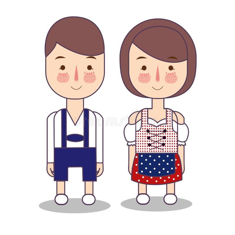 Västra Tyskland - kläder för par för europeiskt land traditionell nationell av Indonesien Ställ in av tecknad filmtecken in royaltyfri illustrationer
