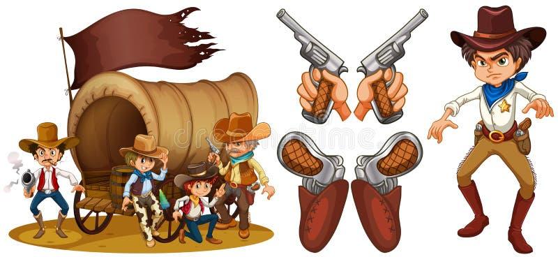 Västra uppsättning med cowboyen och vapen royaltyfri illustrationer