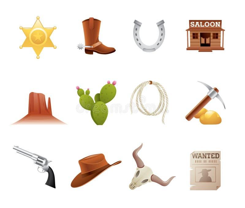 västra wild för symboler royaltyfri illustrationer