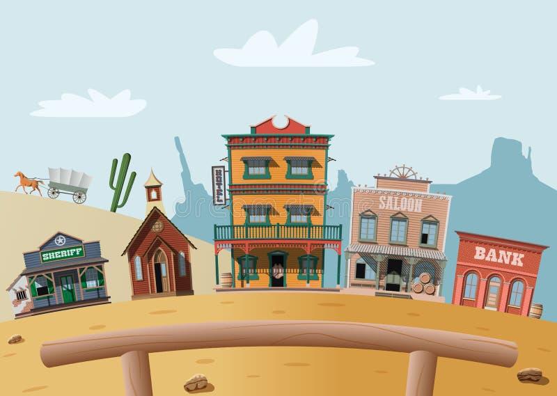 västra wild för town vektor illustrationer