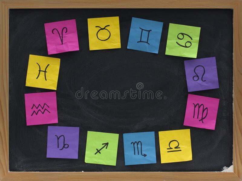 västra zodiac för blackboardsymboler fotografering för bildbyråer