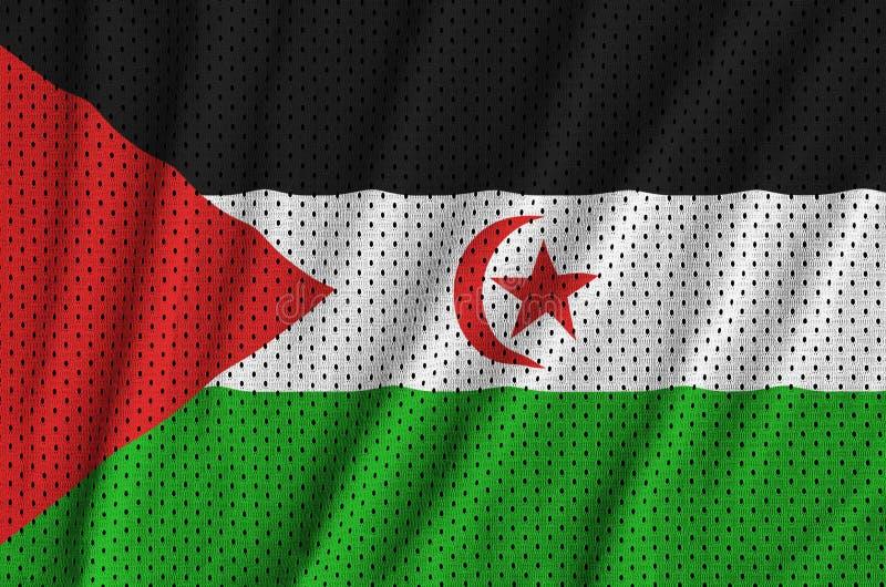 Västsahara flagga som skrivs ut på ett ingrepp för polyesternylonsportswear arkivbilder