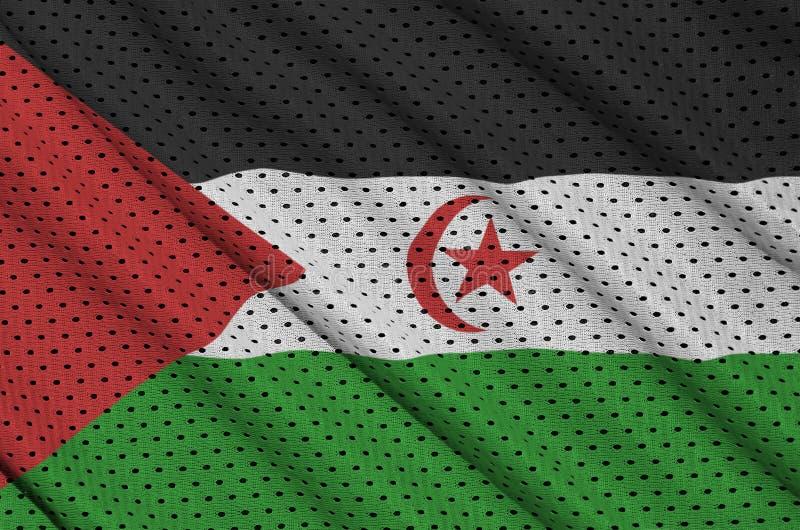 Västsahara flagga som skrivs ut på ett ingrepp för polyesternylonsportswear royaltyfria foton