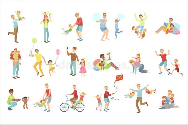 Väter, die mit den Kindern eingestellt von den Illustrationen spielen stock abbildung