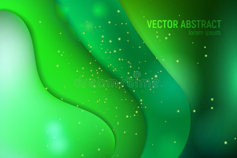 Vätska formar sammansättning Abstrakt bakgrund för vektor med flöde för rörelse för grön våg för ufo, geometriska beståndsdelar M royaltyfri illustrationer