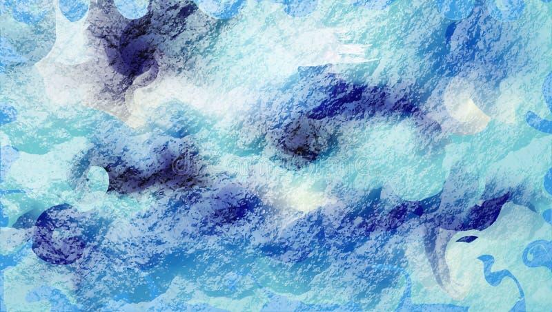 Vätskebakgrund, tapet i form av en havsvåg abstrakt vektorteckning av krabba blåa cirklar och linjer lutningglans, royaltyfri illustrationer