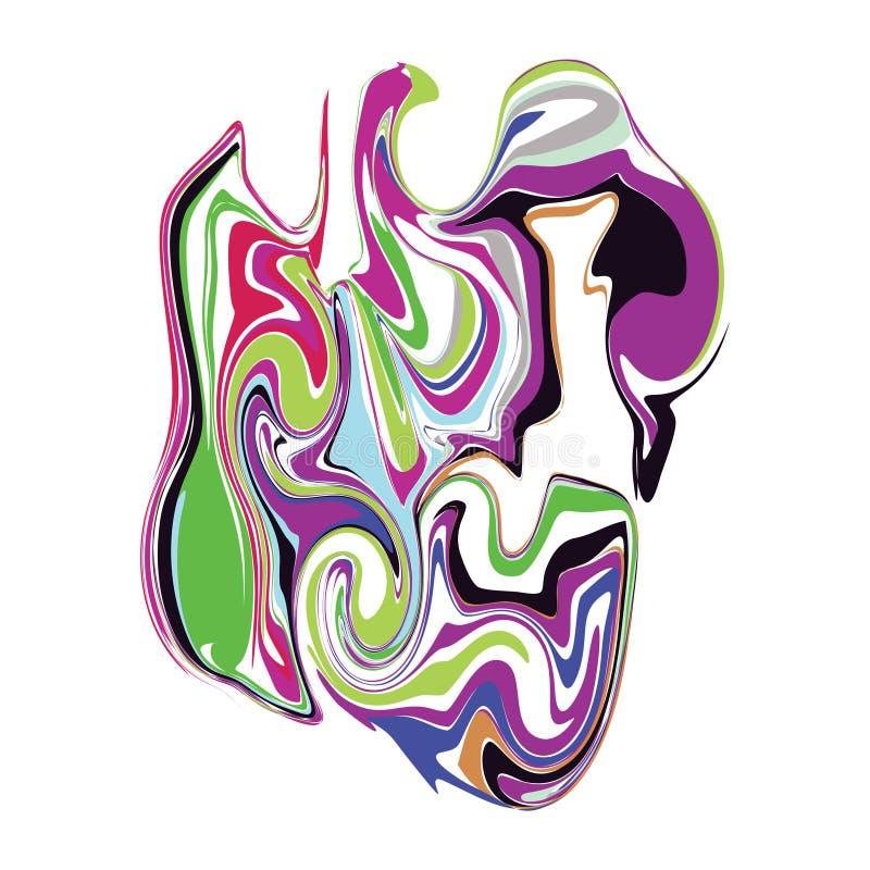Vätskedesign för färgpulvermarmorfärgstänk som isoleras på vit bakgrund royaltyfri illustrationer