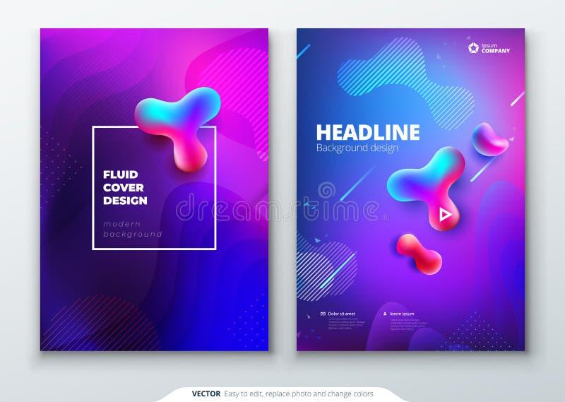 Vätskefärgräkningsuppsättning Vätska formar sammansättning Geometrisk orientering av broschyren Mall för företags affär för brosc vektor illustrationer