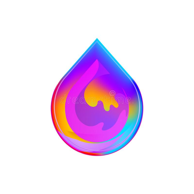 Vätskefärgrikt begrepp för mall för vektor för lutning för design för vattendropplogo Mall f?r vektorillustrationdesign Rent vatt vektor illustrationer