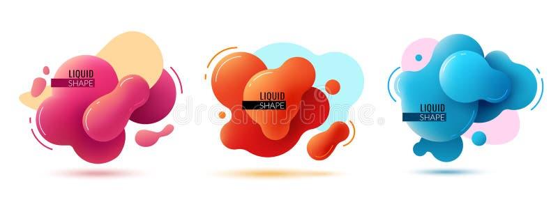 Vätskeformbaner Vätska formar abstrakta färgbeståndsdelar målar modern design för formmemphis grafisk textur 3d stock illustrationer