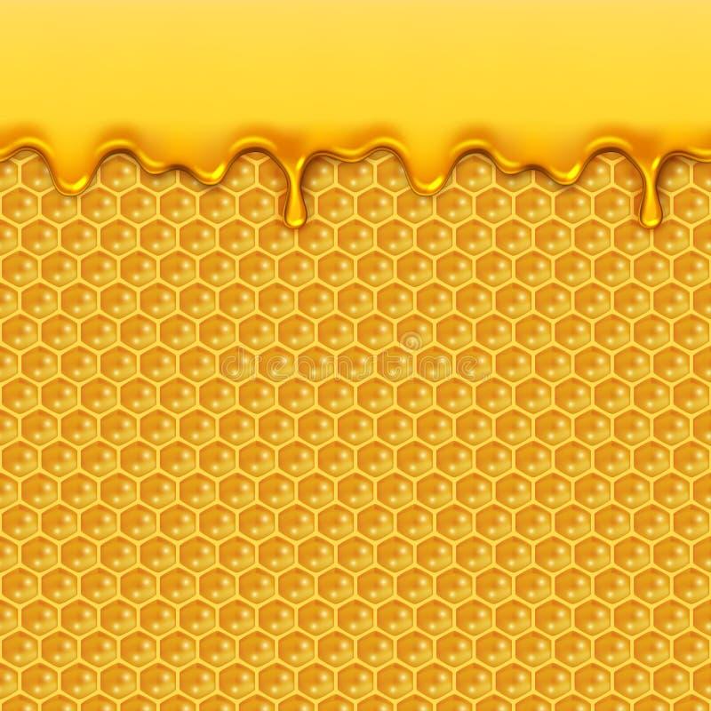 Vätskehonungmodell Bihonungskaka- och honungdroppar täcker med sirap sömlös vektorbakgrund för den naturliga gula produkten vektor illustrationer