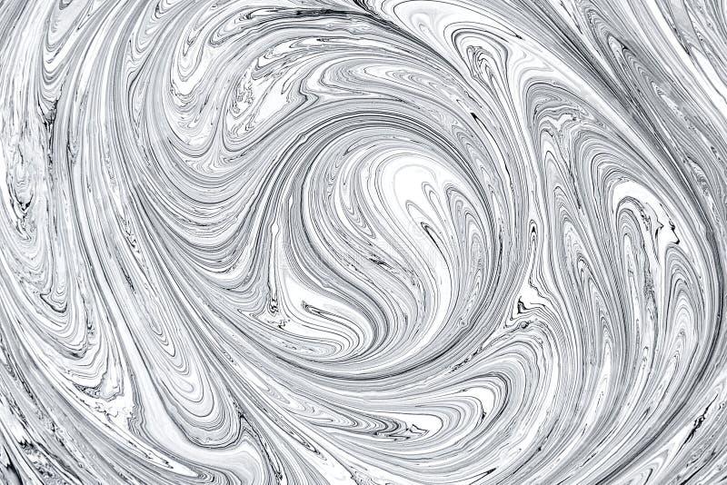 Vätskekonsttechniqie Svartvit vätskemåla pappersbakgrund Abstrakt moderiktig bakgrund, textur arkivbilder