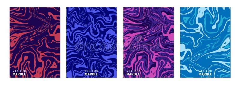 Vätskemarmortextur Vertikala baner ställde in med abstrakt bakgrund Dynamisk vätskekonstfärgstänk Vektordesignorientering för vektor illustrationer