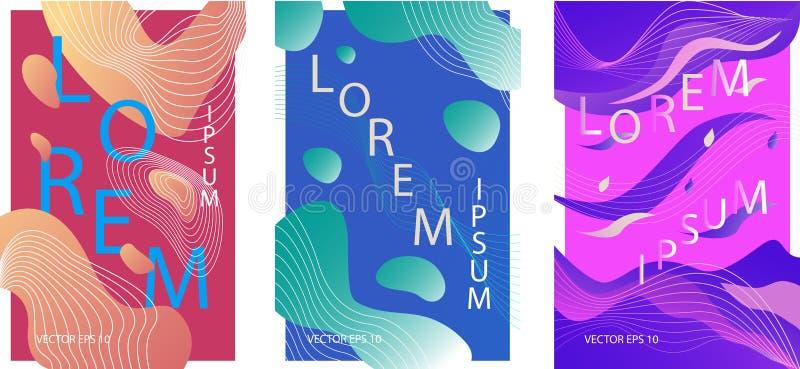 Vätskeorganiska färgrika affischer royaltyfri illustrationer