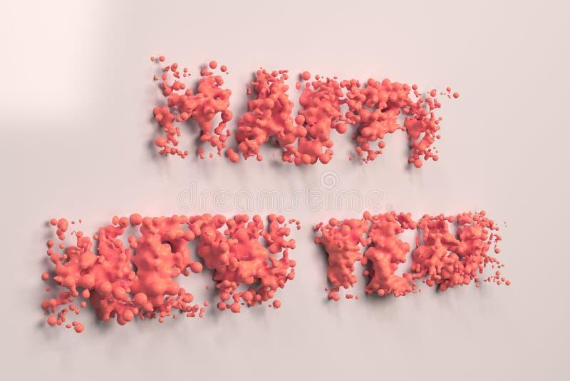Vätskeröda ord för lyckligt nytt år med droppar på vit bakgrund vektor illustrationer