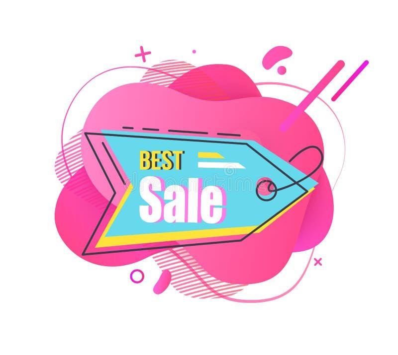 Vätskestilfull etikett för bästa Sale blå kulör vektor stock illustrationer