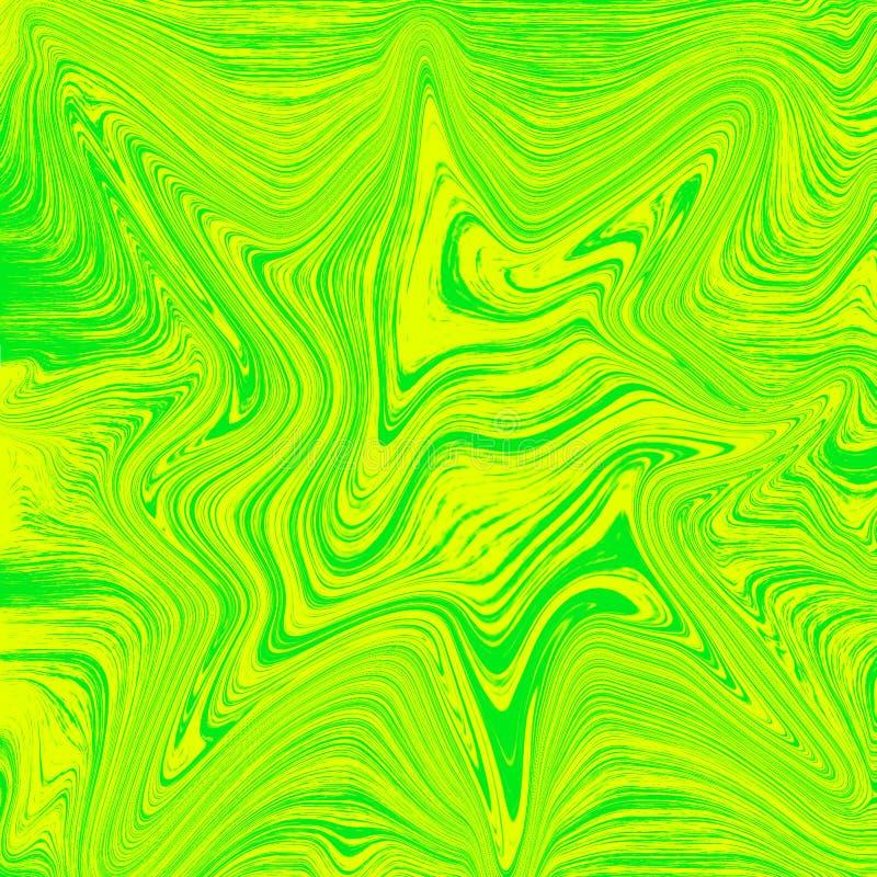 Vätsketapetkombination av grönt och gult Vätskeabstrakt digital målning royaltyfri illustrationer