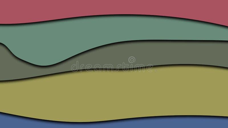 Vätskevektorillustrationen gjorde i kombination av färger av impressionisteran De fallande skuggorna betonar nivån av varje stock illustrationer
