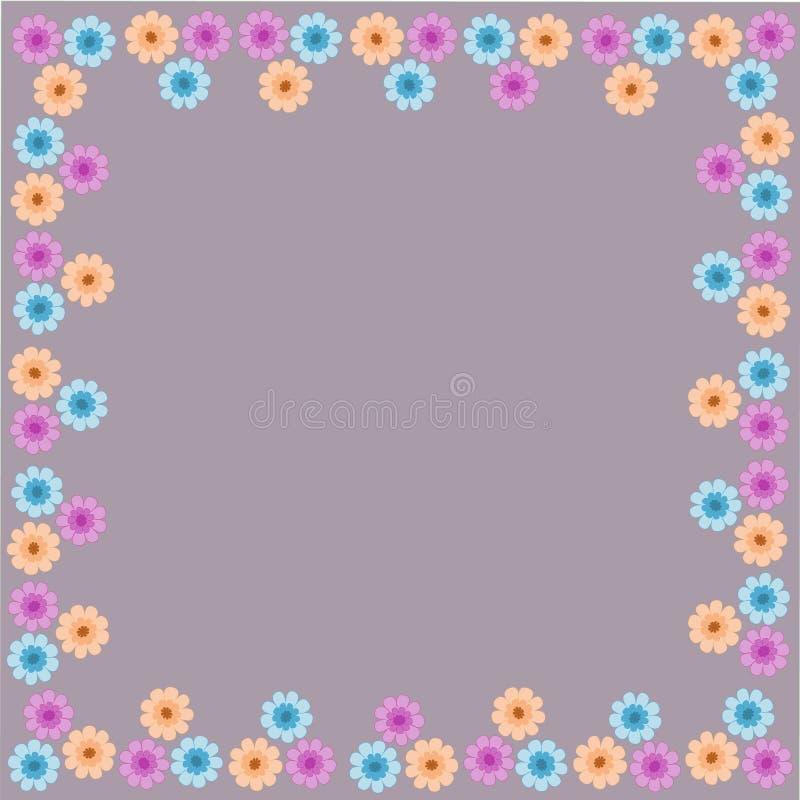 Väv för modell för gräns för blommaram härlig blom- stock illustrationer