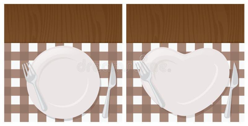 väv för vektor för tegelplattor för tablecloth för sked för silhouettes för inställning för restaurang för tillgänglig för bakgru stock illustrationer