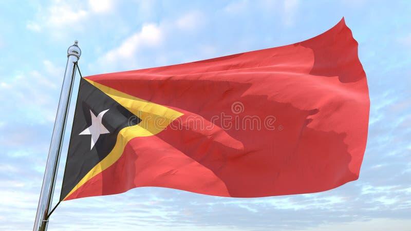 Väva flaggan av landet Östtimor royaltyfri illustrationer