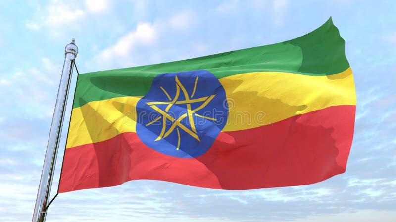 Väva flaggan av landet Etiopien stock illustrationer